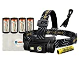Nitecore HC65 (1000 Lumens) USB Rechargeable Headlamp - White/Red/High CRI Outputs. Includes 4x EagleTac RCR16340 (CR123) Batteries and 1 Lightjunction Battery Box