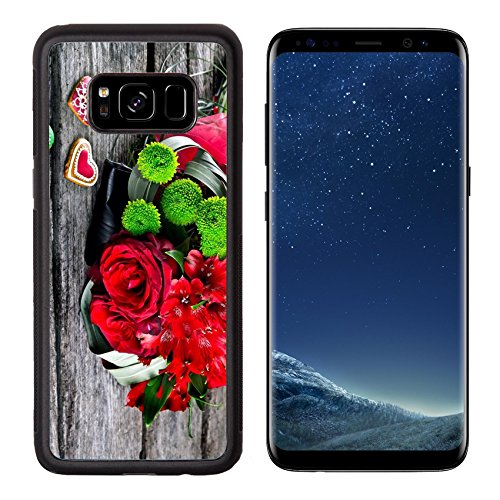 Luxlady Premium Samsung Galaxy S8 Aluminum Backplate Bumper Snap Case IMAGE ID: 22968315 Wedding Bouquet with Heart shape Gingerbread on wooden background