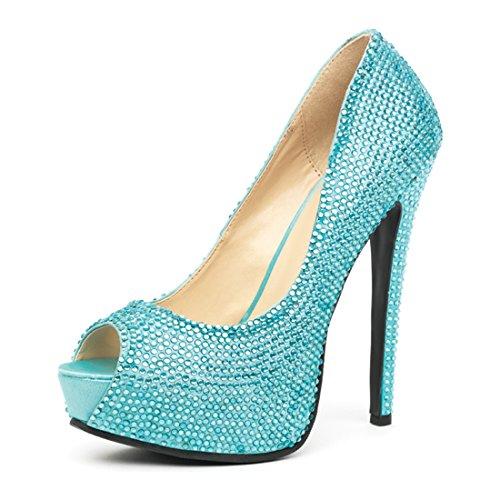 Strass Avenue Turquesa Leg Peep Glamour Satinado Con Toe Pump AWx8OnxzU
