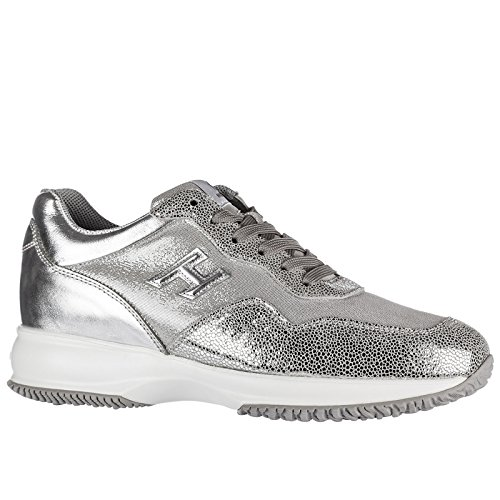 h3d Interactive Silver Hogan Shoes Trainers Sneakers Leather Women's qUUXxY7S