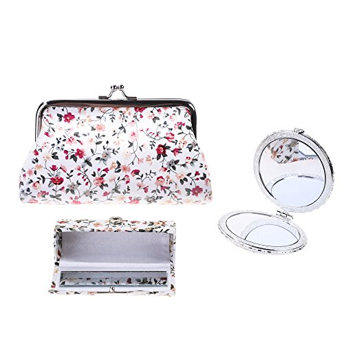Kloud City Women's Set of 3 Floral Cosmetic Organizer Kiss-Lock Clasp Clutch Purse Butterfly Closure Mirror Snap Button Lipstick Case (White) (Clutch Purse Frame)