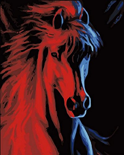 DIY Paint By Number Kits Fire and ice horse 16x20 inch Frameless