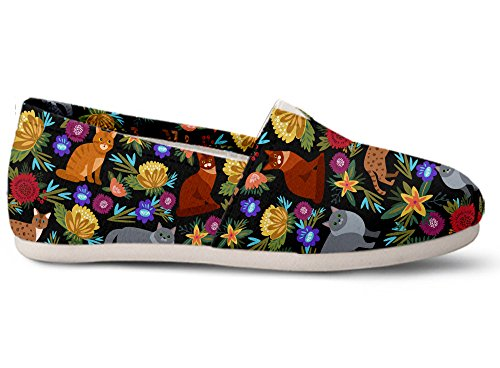 Gnarly Tees Women's Cat Flower Casual Shoes, Size 6 Cat Casual Shoes