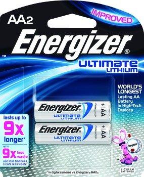 Energizer E2 Ultimate Battery, Lithium, Size AA,1.5 v, 2 Pack, Model L91BP2EN