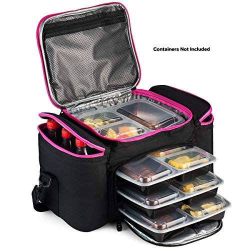 Cooler Bag insulated By Outdoorwares: Large Capacity Bag Durable, Insulated Tote To Keep Foods And Drinks In The Right Temperature - Good for Travel, Picnic, Beach Hiking, Camping ETC. (Pink Zipper)