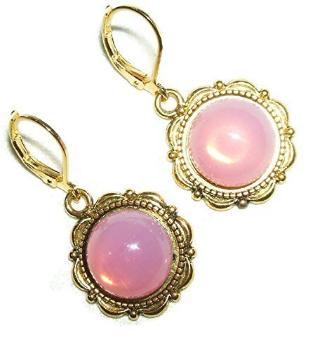 Handcrafted Brilliant Opal Earrings (PINK OPAL EARRINGS Czech ROSE Glass GOLD Pltd Leverback Dangle Drops)