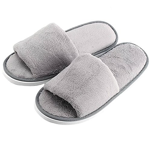Rozenzomer Mannen Open Teen Winter Pantoffels Warme Slippers Fleece Schoenen Grijs