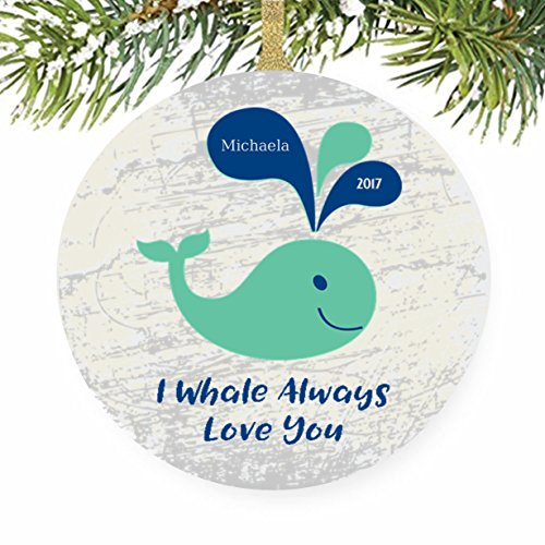 Baby's First Christmas Tree Ornament - I Whale Always Love You - Anniversary Keepsake Tile