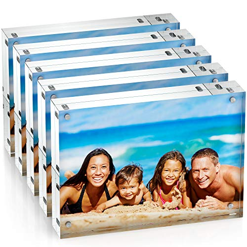 Unum Clear Acrylic 5x7 Picture Frame: Magnetic Floating Picture Frames/Photo Display Stands - Frameless Double Sided Photo Holder - 5 x 7 Inch Acrylic Block Frame for a Desk, Shelf or Table - 5 Pack 2 Picture Photo Cards