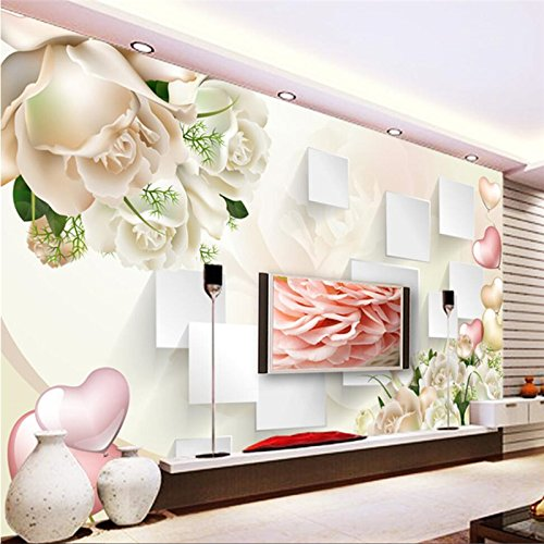LHDLily 3D Wallpaper Mural Wall Sticker Thickening Rose Stereo Box Tv Background Wall For Living Room Wall Papers Home Decor 300cmX200cm by LHDLily
