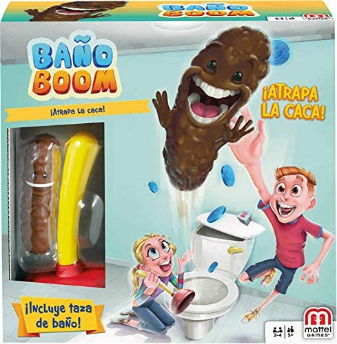 Mattel Games - Baño Boom, ¡Atrapa la Caca!, Juego de mesa infantil ...