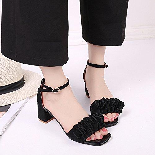 Coreana Heels Black Cuadrada De Rough Toe Peep Hebilla Y Nueve Tacones KHSKX Con Palabra Flor Verano Una Gruesos Con De Thirty Treinta Zapatos Las En six Sandalias Mujeres qPBIxz5