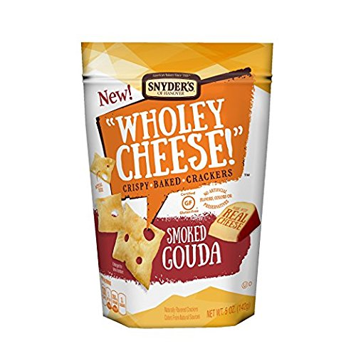 Snyder's of Hanover Wholey Cheese! Gluten Free Baked Cheese Crackers,Smoked Gouda, 5 oz ( 2 Pack)