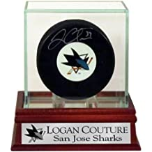 Logan Couture Autographed Sharks Logo Puck with Customized SJ Sharks Case (COA)