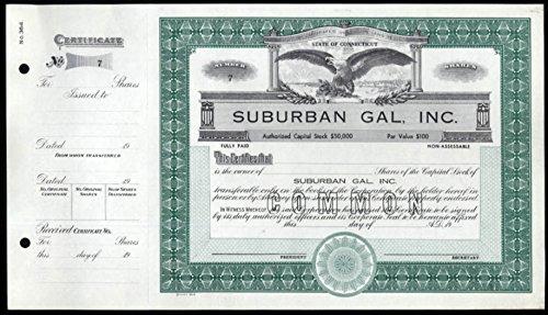 Suburban Gal Store unused unissued stock certificate 1960s Connecticut