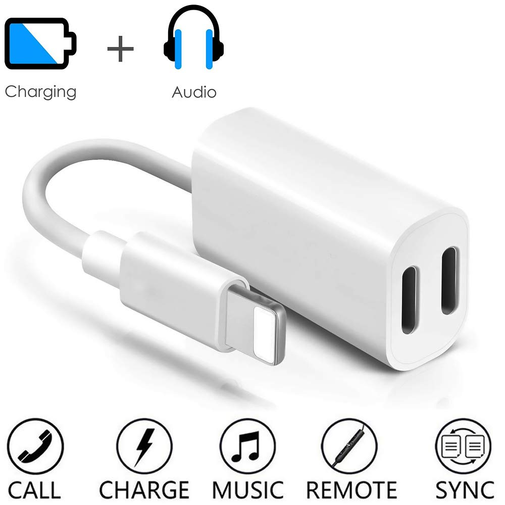 Support Calling Sync /& Music Control Dual Lightning iPhone Splitter Cable iPhone Headphone Audio and Charging Adapter for iPhone 11//11 Pro//XS//XR//X//8//7 Plus,iPad Apple MFi Certified