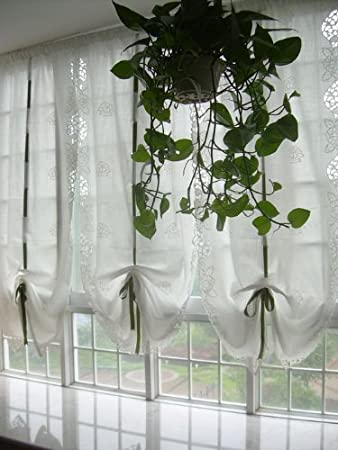 DIAIDI White Cafe Sheer Curtain,Shabby Chic, Living Room Window Sheer  Curtain, Balloon