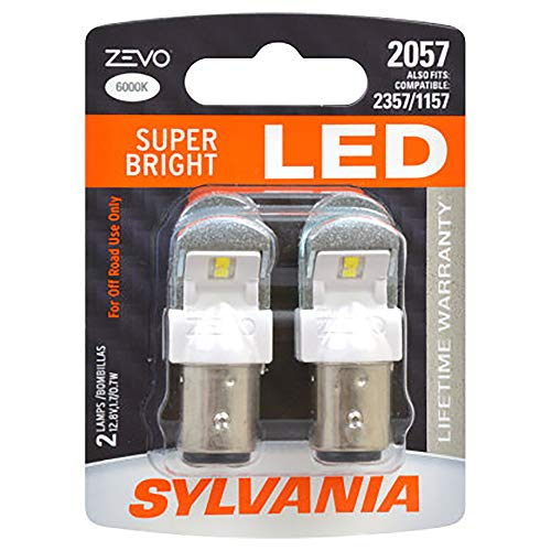 SYLVANIA - 2057 ZEVO LED White Bulb - Bright LED Bulb, Ideal for Daytime Running Lights (DRL) and Buck-Up/Reverse Lights (Contains 2 Bulbs)
