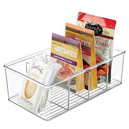 (mDesign Plastic Food Storage Organizer Bin Box - 4 Divided Sections - Holder for Seasoning Packets, Pouches, Soups, Spices, Snacks for Kitchen, Pantry, Cabinet, Refrigerator - Clear)