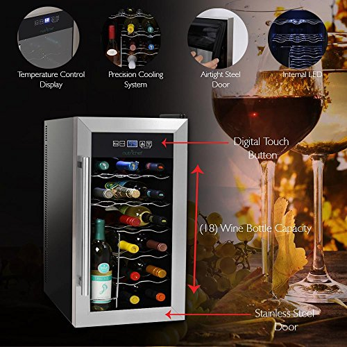 NutriChef 18 Bottle Thermoelectric Wine Cooler / Chiller | Counter Top Red And White Wine Cellar | FreeStanding Refrigerator, Quiet Operation Fridge | Stainless Steel by NutriChef (Image #3)