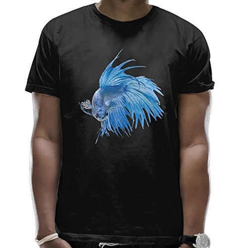 Youbah-01 Men's Blue Betta Fish Cool Short Sleeve Shirts