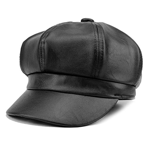 WETOO Leather Vintage Newsboy Cabbie Cap Hat Wide Brim Ivy Beret Cap (Ladies Leather Hats)