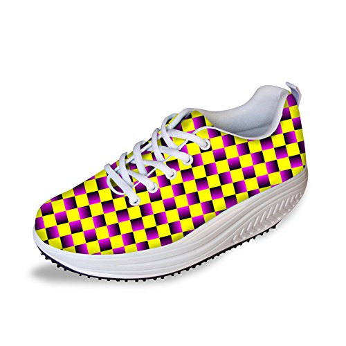 Stylish U Women's DESIGNS FOR Pattern B4 Graffiti Shape Shoes Wedges Ups Walking Colorful Platform ETqWdppwa