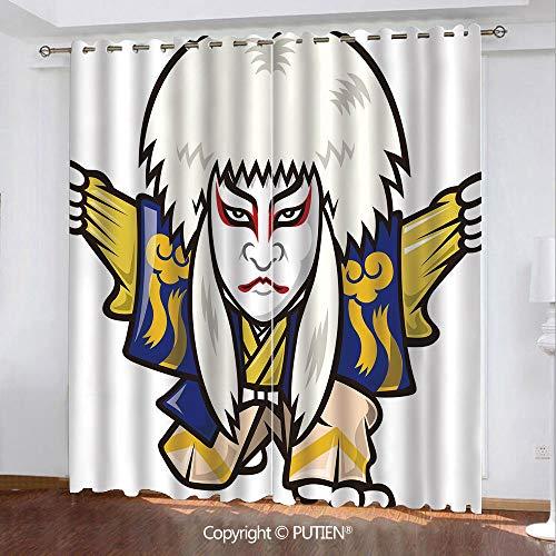 (Satin Grommet Window Curtains Drapes [ Kabuki Mask Decoration,Character with Kimono Orient Elements Edo Era Arts Theater Play Decorative,Multicolor ] Window Curtain for Living Room Bedroom Dorm Room C)