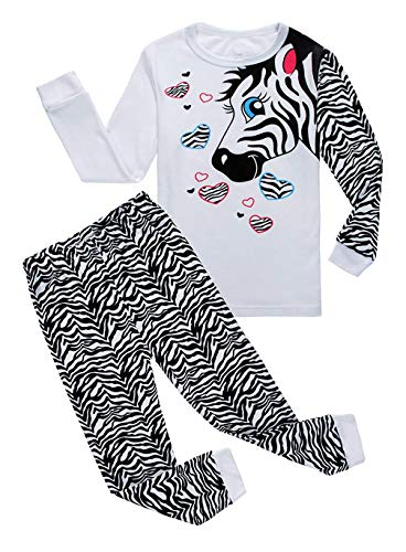 Family Feeling Zebra Big Girls Long Sleeve Pajamas Sets 100% Cotton Kids Pjs Size 10 White ()