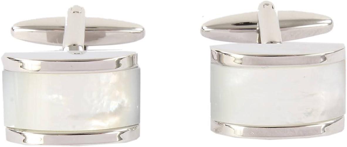 David Van Hagen Mens Mother of Pearl Domed Rectangle Cufflinks Silver//Cream