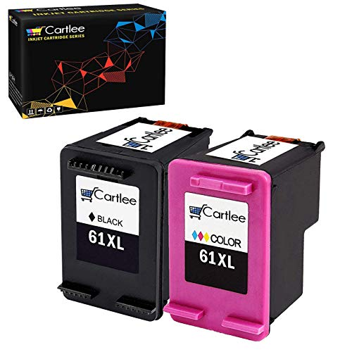 Cartlee 2 Pack Remanufactured 61XL High Yield Ink Cartridges for Deskjet 1000 1010 1050 1510 1512 2000 2050 2510 2540 3050 2542 2543 2549 3000 Officejet 2620 2622 4630 4632 4635 (Black & Color) ()