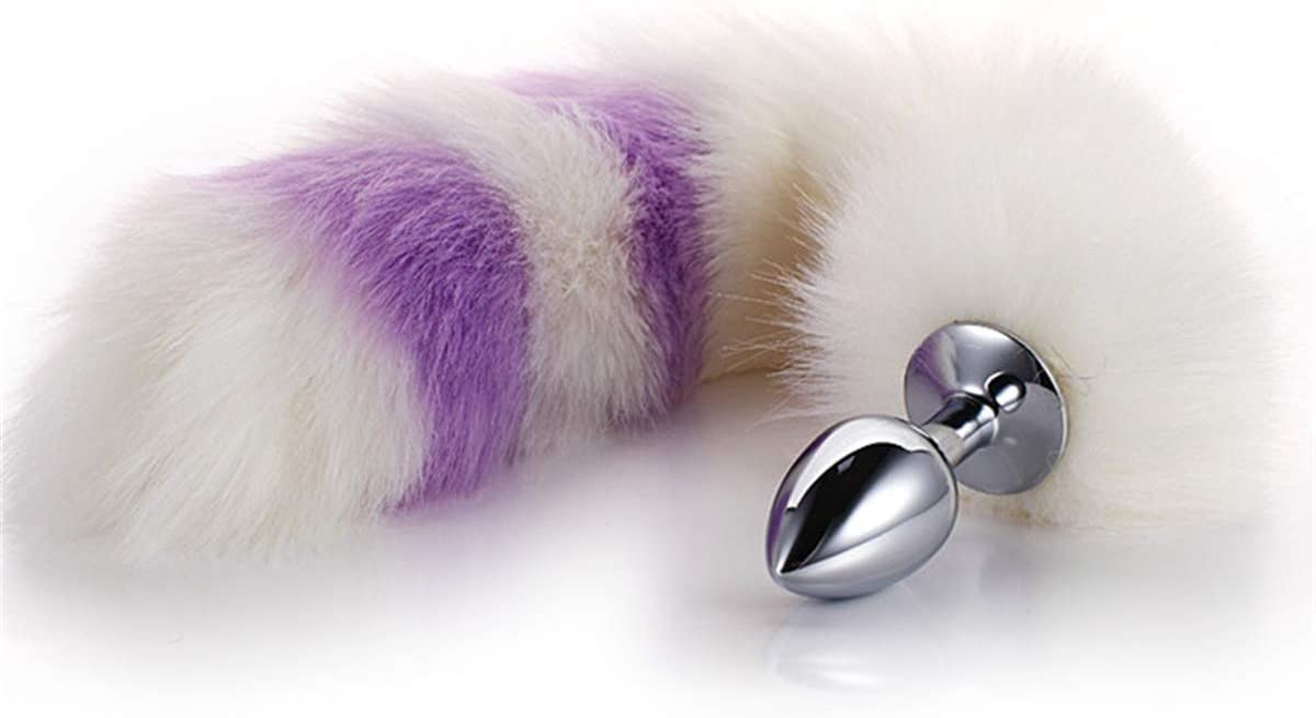 Frasky Yoga Sports Set Rabbit Tail ball Bu.tt Plug Plush Cosplay Game Women Halloween Roleing Gifts Light Purple F15