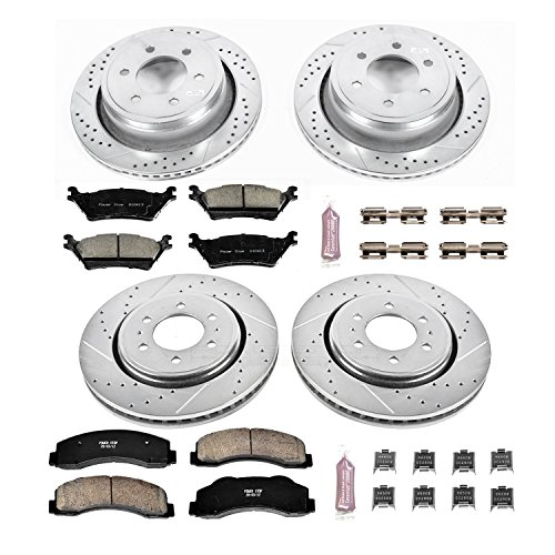 F150 Power Disc Brake (Power Stop K6268 Front and Rear Z23 Evolution Brake Kit with Drilled/Slotted Rotors and Ceramic Brake Pads)