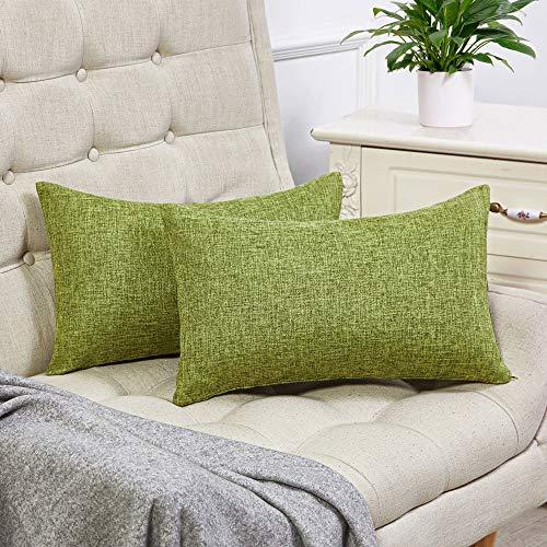 Anickal Set of 2 Green Lumbar Pillow Covers Cotton Linen Decorative Throw Pillow Covers 12x20 Inch for Sofa Couch Decoration (Green Pillow Lumbar)