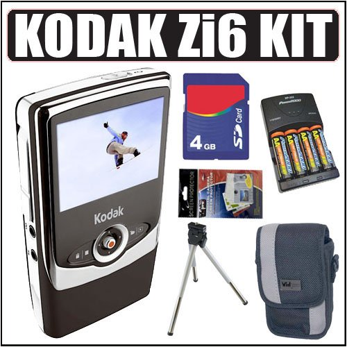 Kodak Zi6 Pocket HD Camcorder (Black) + 4GB Accessory Kit
