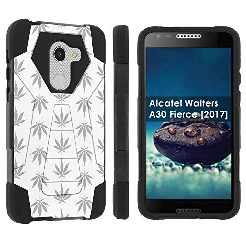 [POPCulture] Rugged Case For Alcatel REVVL /Alcatel Walters / Alcatel A30 Fierce [2017] [Black/Black] Military Armor Case [KickStand] - [White Weed] Print Design
