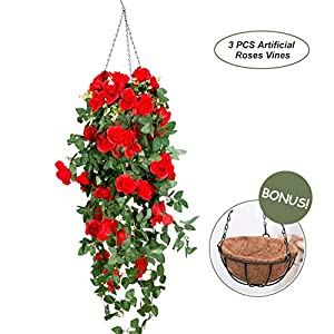 OSLAMP Artificial Roses Plants Hanging Basket Fake Decorative Silk Flowers Vines for Home Garden Fence Wedding Indoor Outdoor Red