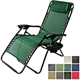 Sunnydaze Forest Green Outdoor Oversized Zero Gravity Lounge Chair with Pillow and Cup Holder