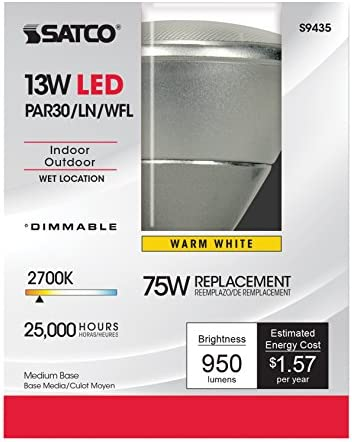 5000K 12-Pack Satco S9414 13PAR30//SN//LED//25//5000K//120V//D 13W PAR30 Indoor//Outdoor Short Neck Dimmable LED 25/° Flood lamp