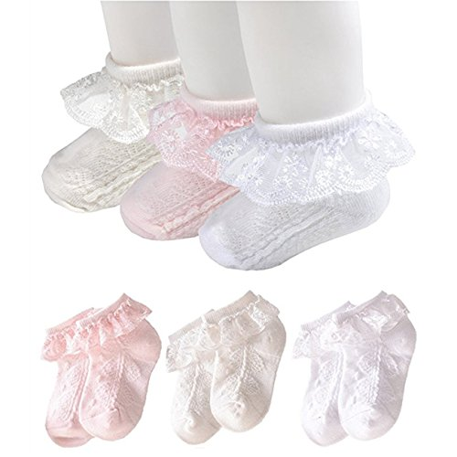 WooWan 0-8T Baby Girls Princess Lace Summer Ruffles Socks Set for Newborn Infant Toddlers(Pack of 3)