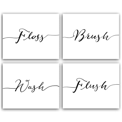 baddffde568 Funny Bathroom Themed Art Prints Floss Wash Brush Flush Words Quote and  Sayings,Canvas Black and White Washroom Signs Set of 4 Poster(8