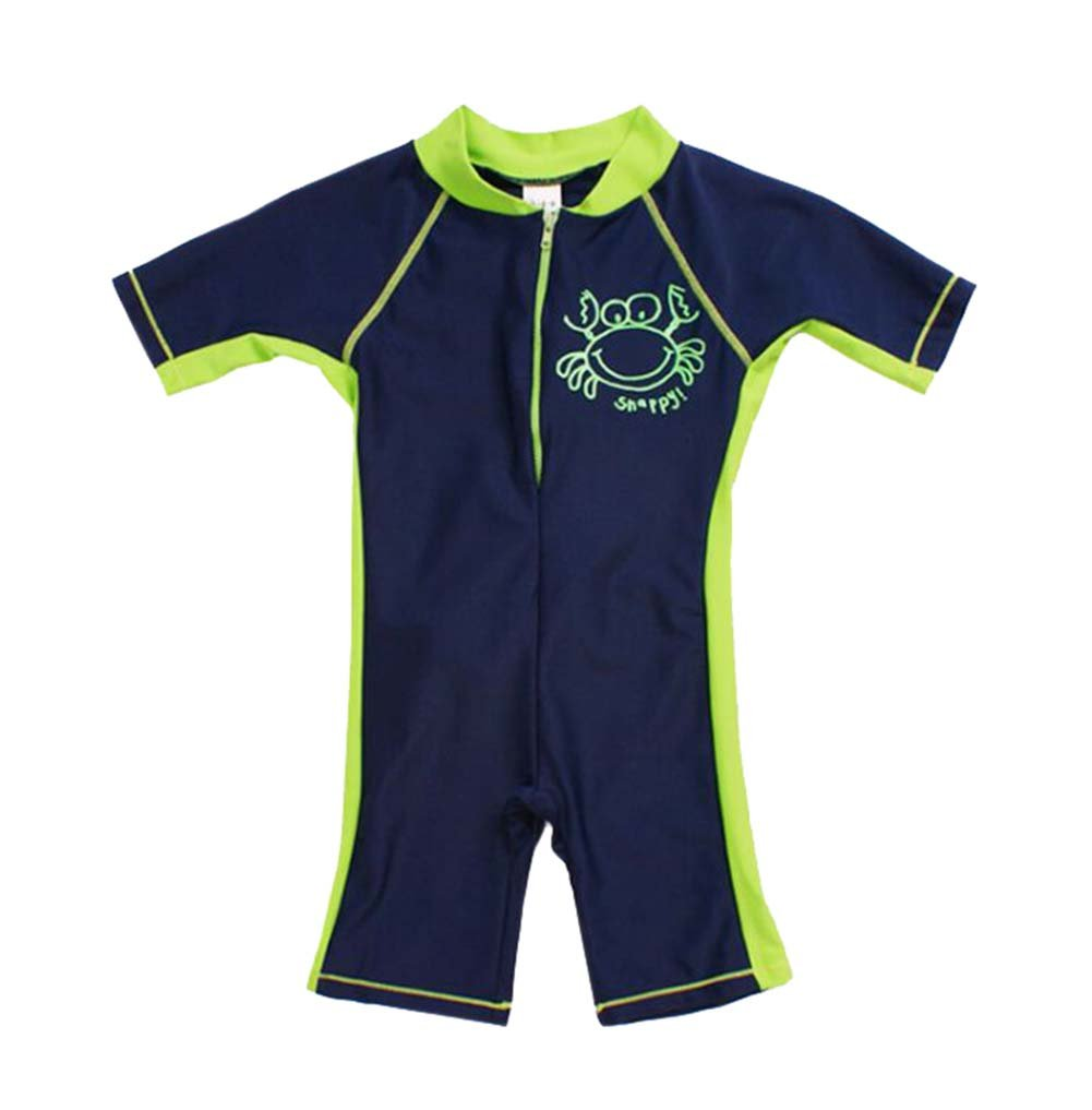 Green Boys Body Suit Patchwork Swimsuit One Piece, 8T, 3-4 Years Old PANDA SUPERSTORE PS-SPO2420245011-EMILY00896