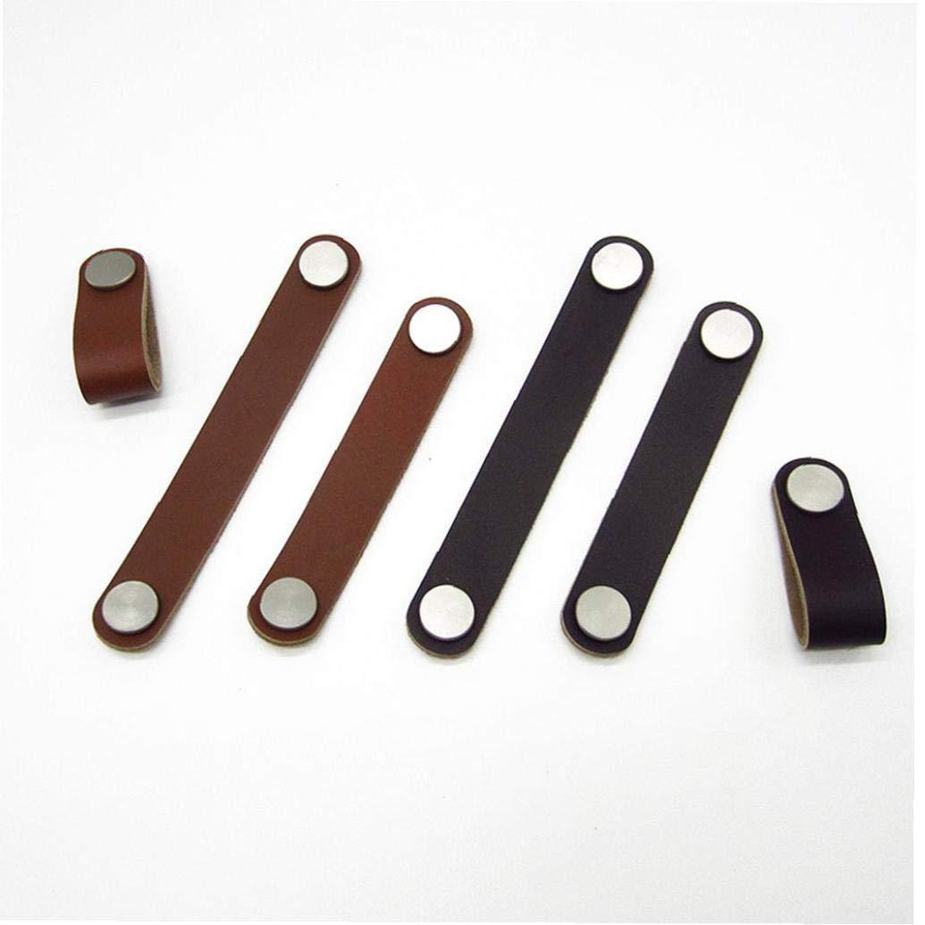 Aisoway Manija del gabinete Soft PU Dresser caj/ón perillas de Puertas PullHardware Orificio de Brown