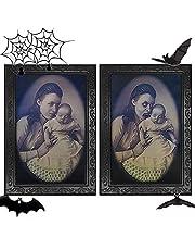 TIANHOO Halloween-decoratie, 3D veranderende gezichtsbeweging, fotolijst, portret, horrordecoratie voor thuis, Halloween, feest, kasteel, spookhuis, decoratie 38 x 25 cm