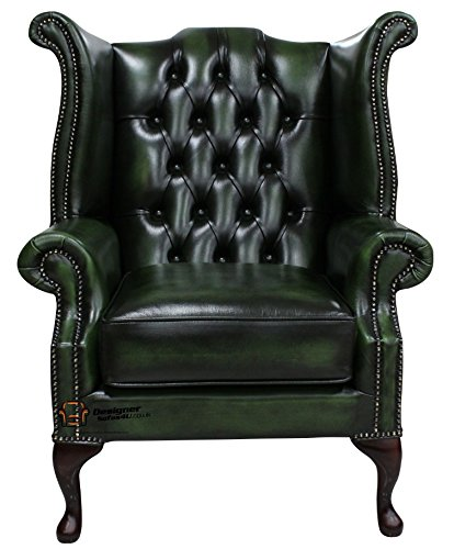 Amazing Chesterfield Queen Anne Wing Chair Antique Green Leather Creativecarmelina Interior Chair Design Creativecarmelinacom