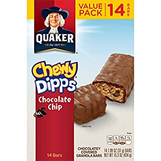 Quaker Chewy Dipps Chocolate Chip Granola Bars, 15.3 Ounce, 1.09 Ounce (Pack of 14)