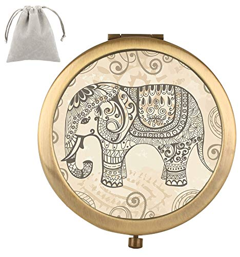 Compact Mirror Dynippy Round Vintage Double-sided With 2 x 1x Magnification Makeup Mirror for Purses and Travel Folding Mini Pocket Mirror Portable Hand for Girls Woman Mother Great Gift - Elephant (Hand Elephant)