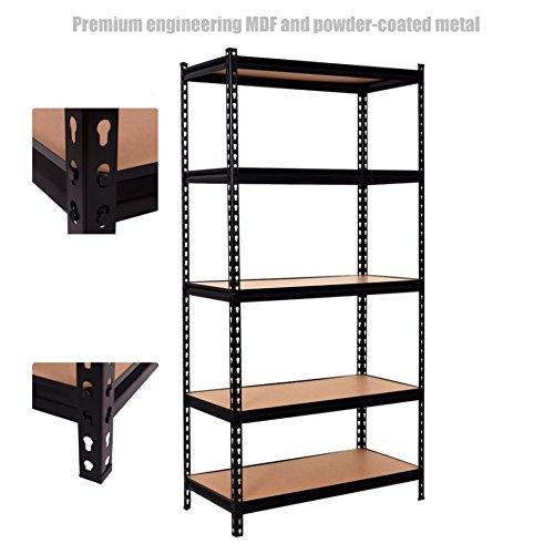 5 Tier Heavy Duty Shelf School Office Home Garage Solid Steel Metal Storage Rack Space-Saving Design Adjustable Height Shelves - 36''L ×18''W ×72.5''H Black #1307 by Koonlert@shop