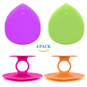Facial Cleansing Pads,GTON Silicone Face Scrubber Cleansing Brush Cleaner Facial Exfoliators Acne Blackhead Removing,Skin Pore Cleanser and Baby Shower Tool Brushes 4 Pack