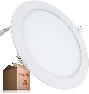 Placa LED 20W Circular SuperSlim (Pack 2) Downlight LED Empotrado Φ225mm Blanco Frío 6000K-6500k 1800 Lúmenes ONSSI LED: Amazon.es: Iluminación
